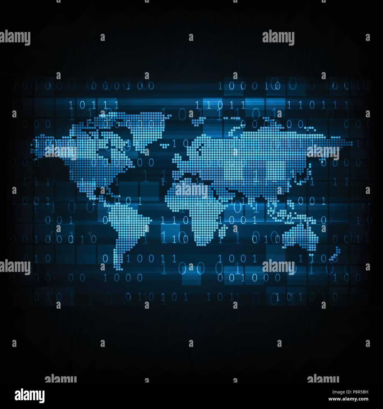 Vector Technology Digital World Map Stock Vector Art Illustration