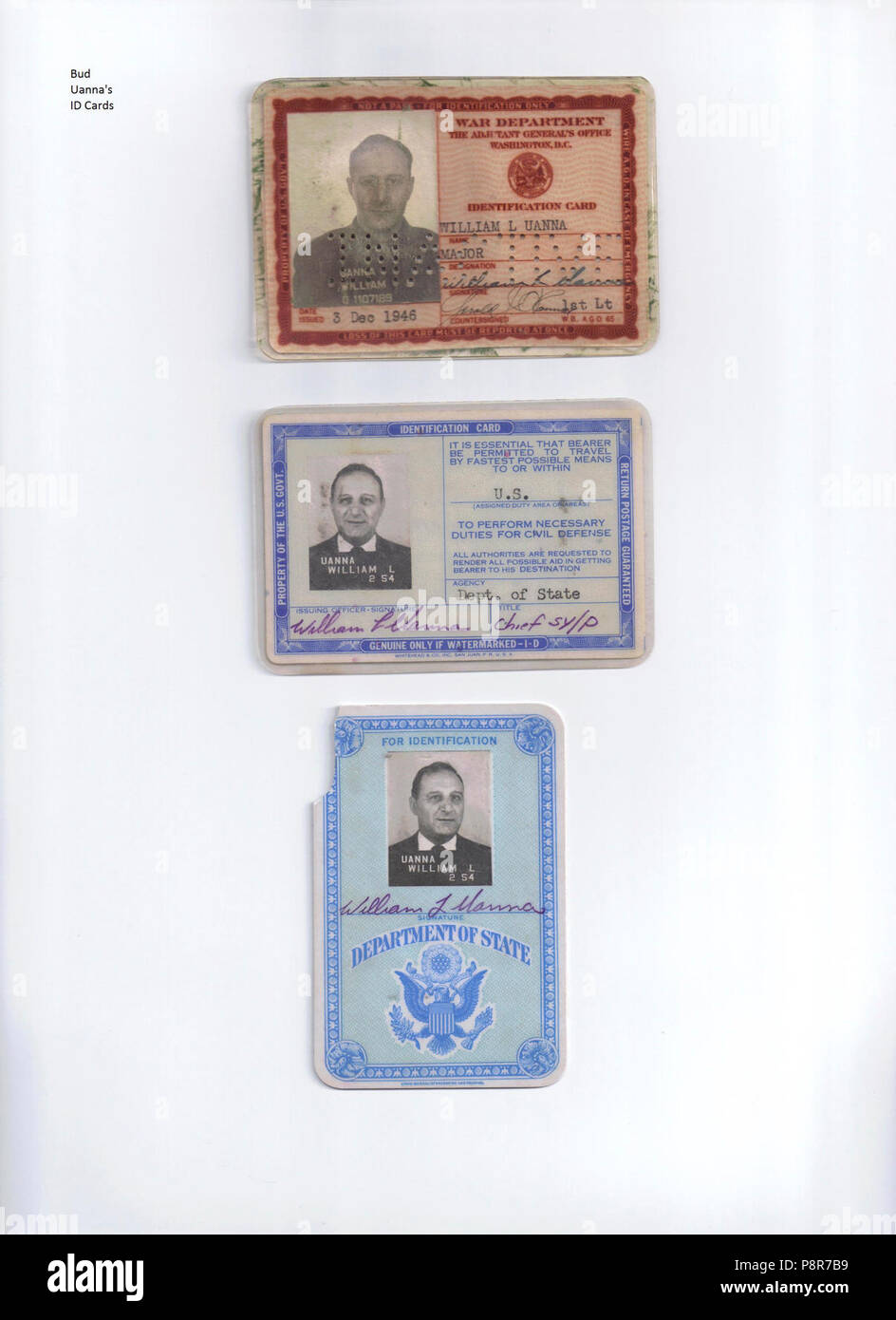 A Clue in an on going murder investigation Bud Uanna ID Cards p.1. - Stock Image