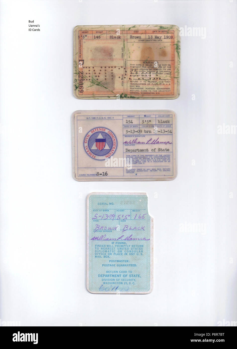 A Clue in an ongoing murder investigation Bud Uanna ID Cards p. 2. - Stock Image