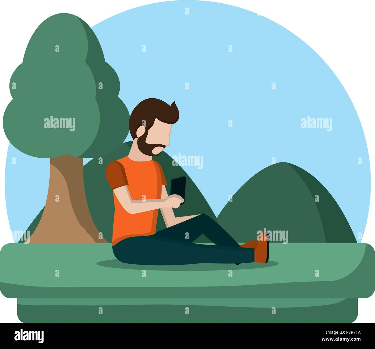 man with social smartphone and quiet landscape vector illustration - Stock Image