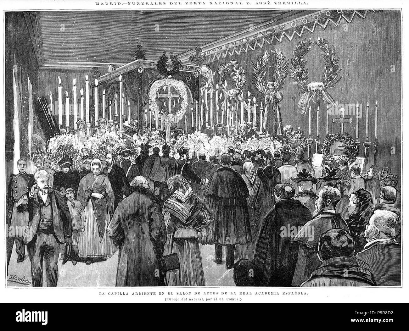 407 Madrid, funerales de Zorrilla, la capilla ardiente en el salón de actos de la Real Academia Española - Stock Image