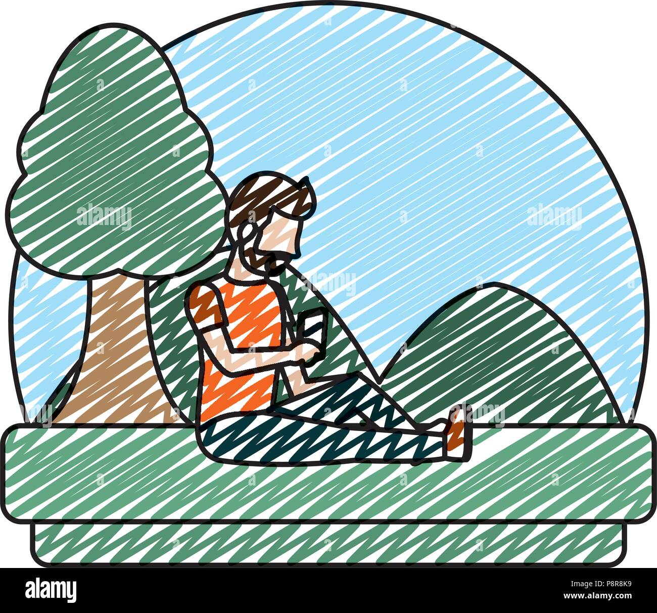 doodle man with social smartphone and quiet landscape vector illustration - Stock Image