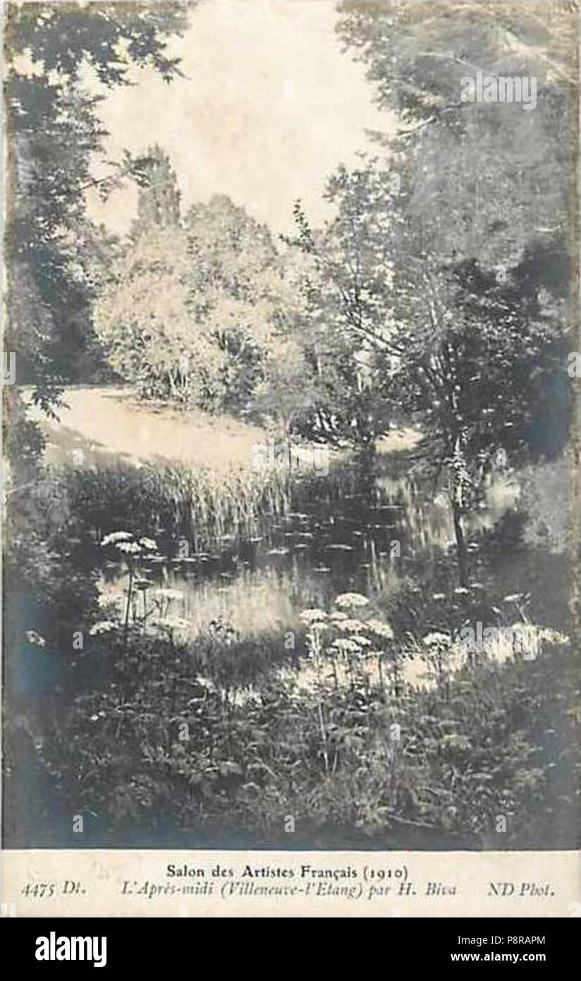 328 Henri Biva, L'Après-midi (Villeneuve-l'Etang), Salon des artistes Français de 1910 - Stock Image