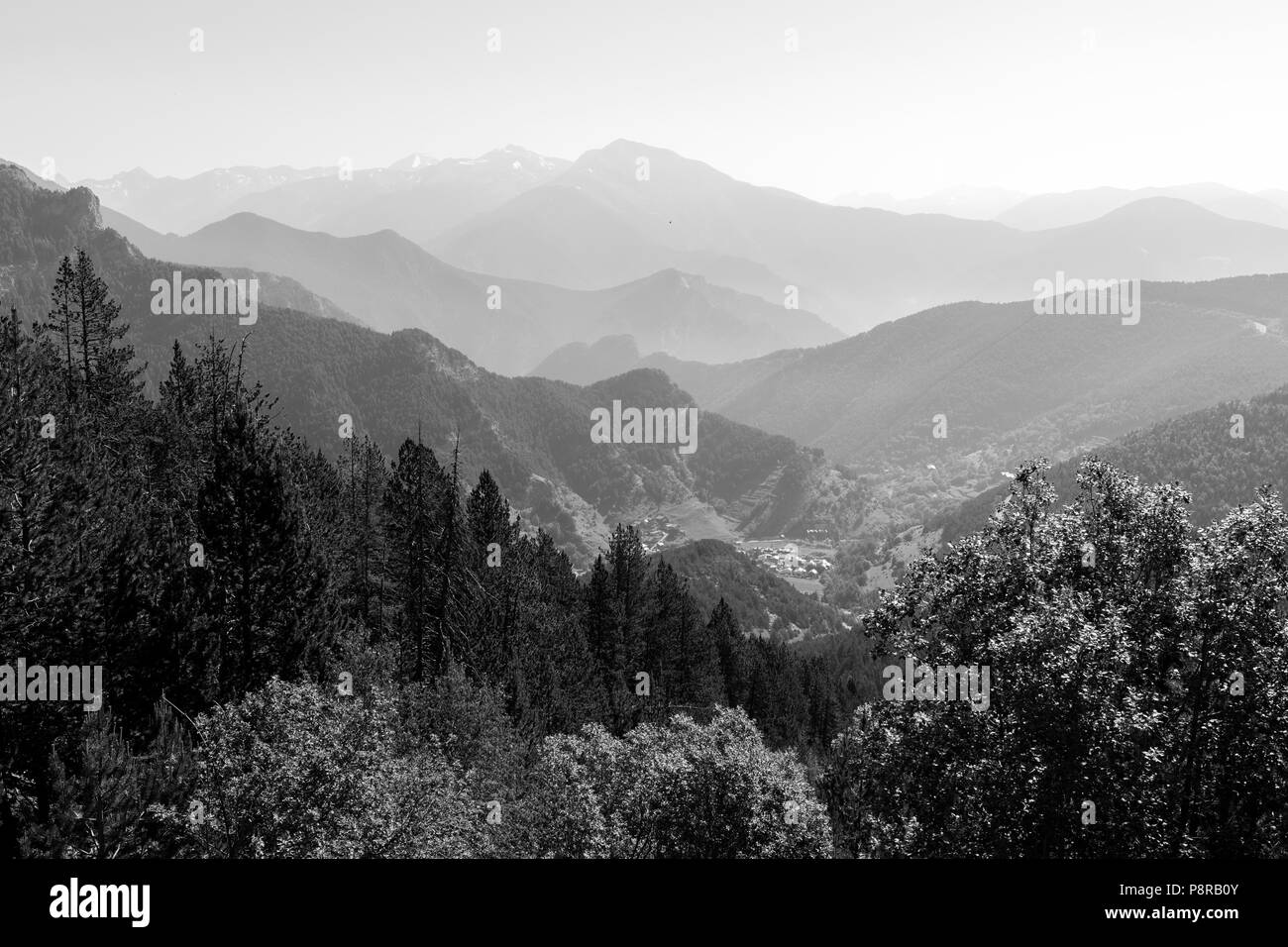 Landscape on the Coll de la botella in area Pal Arisal in Andorra - Stock Image