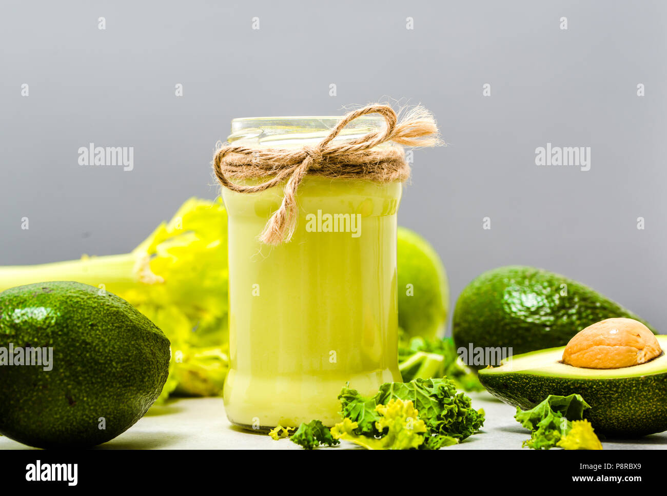 Vegetable Drink With Green Vegetables Jar Of Smoothie With Avocado