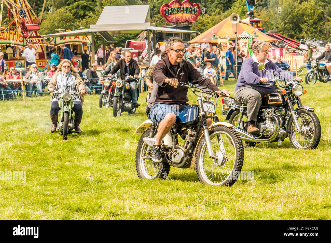 Old Motorcycles on display at Chelford steam rally Cheshire United Kingdom - Stock Image