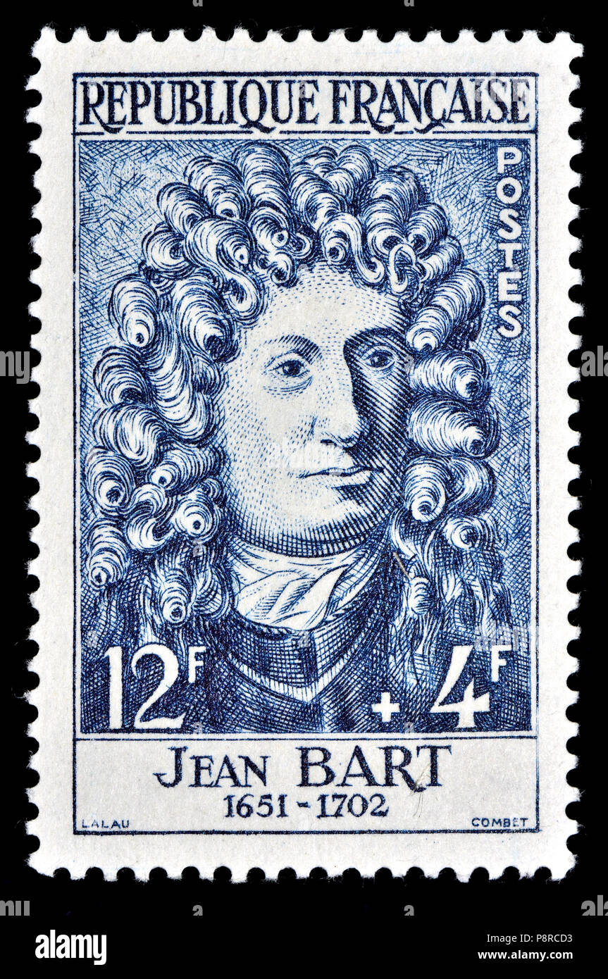 French postage stamp (1958) : Jean Bart (1650 – 1702) French naval commander and privateer. Stock Photo