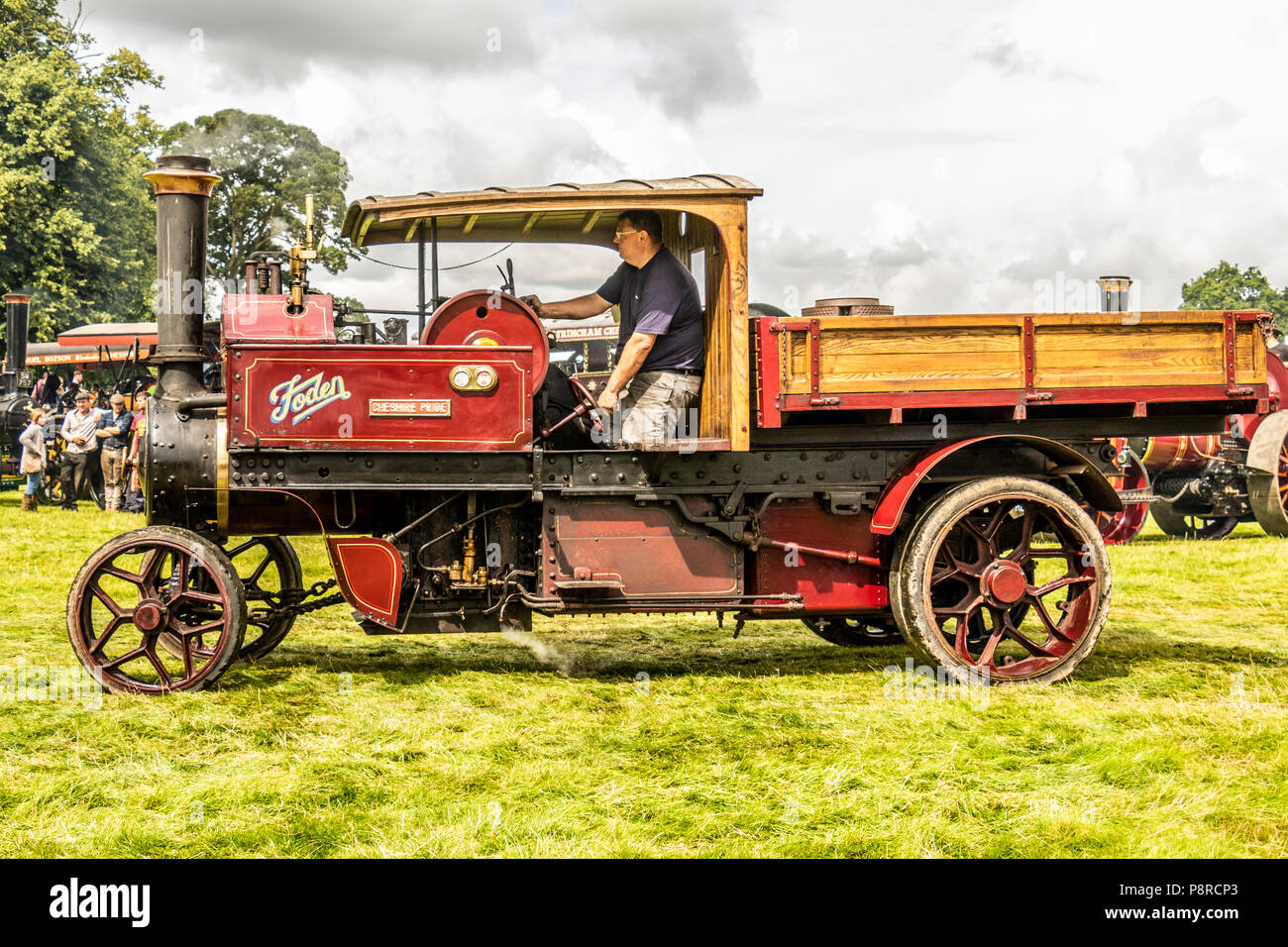 Steam vehicles including bus's and lorries, at Astle Park steam festival Chelford Cheshire United Kingdom - Stock Image