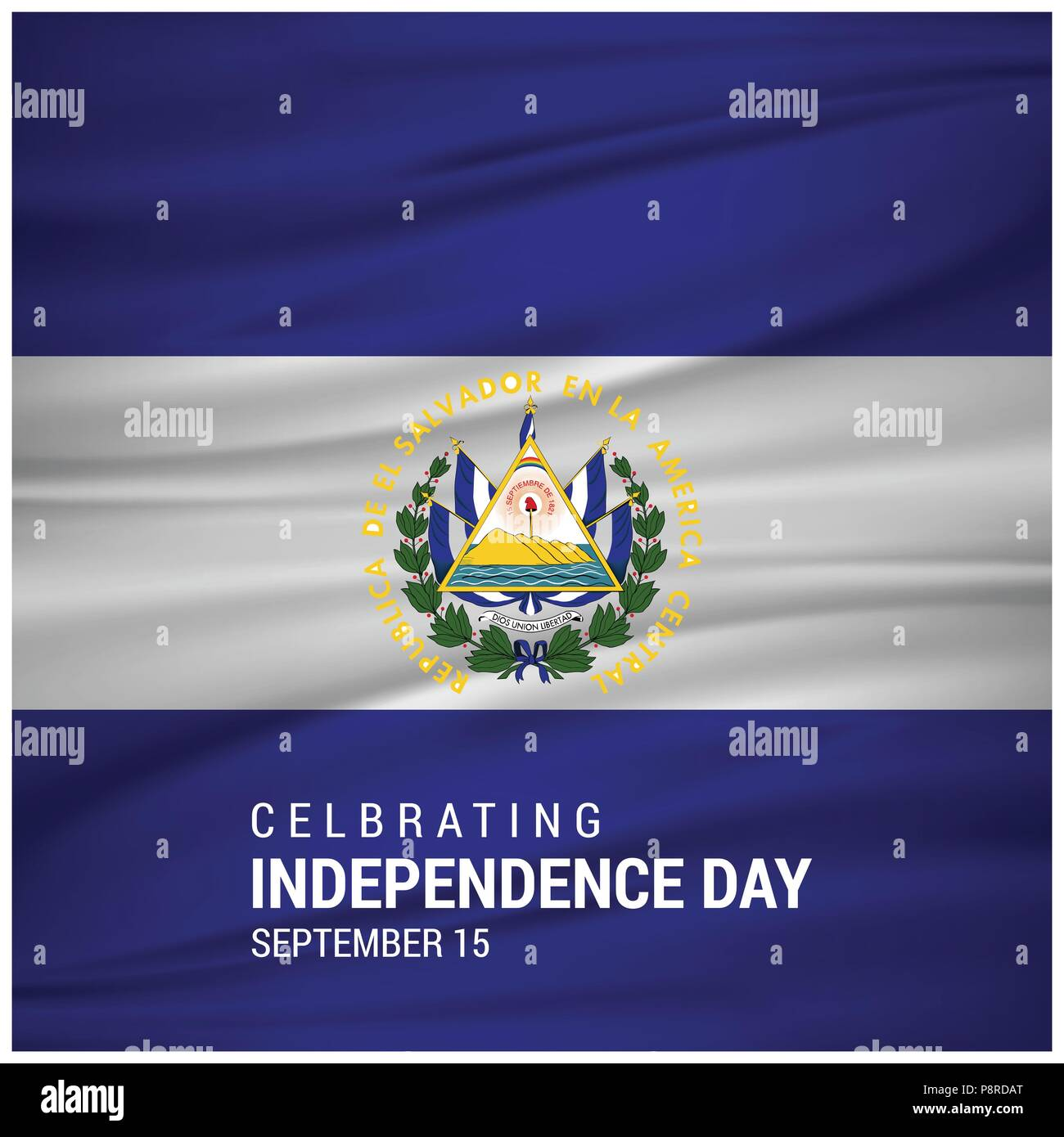 Independence day of El Salvador. Patriotic Banner. Vector illustration. For web design and application interface, also useful for infographics. Vector - Stock Image