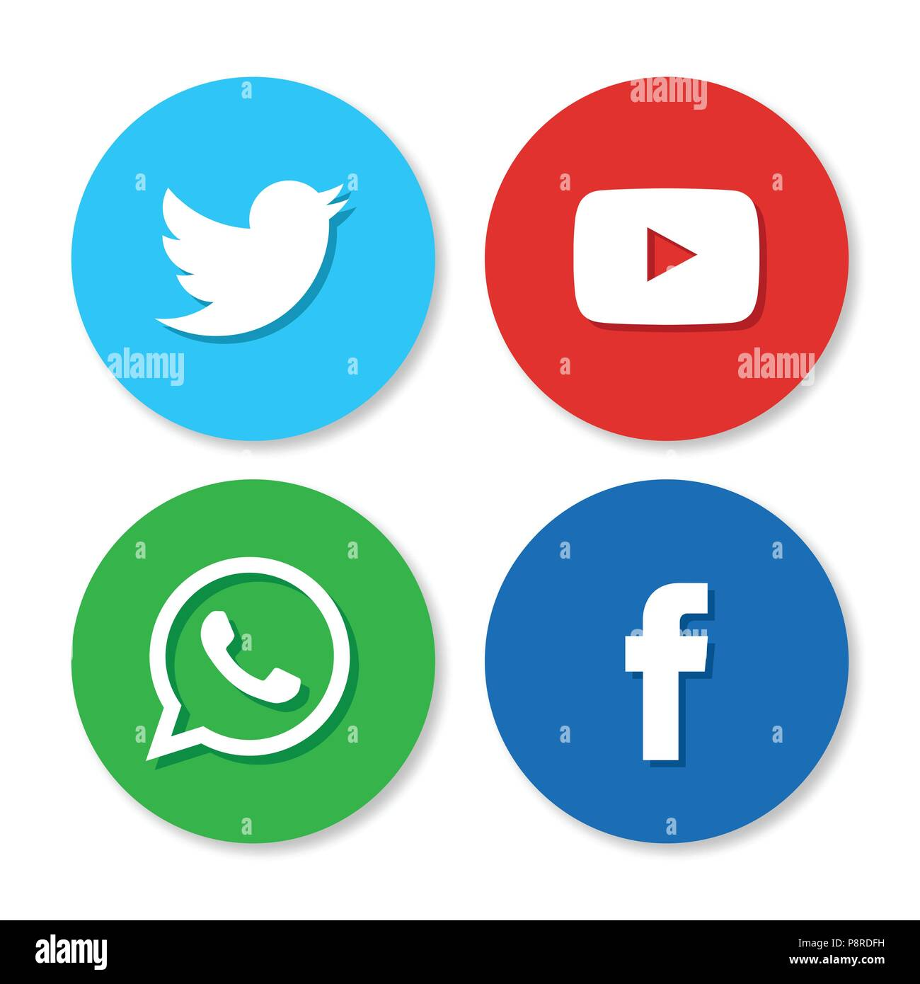 Set of flat design sale stickers vector illustrations of twitter yoututbe whatsapp and facebook on white background for web design and application