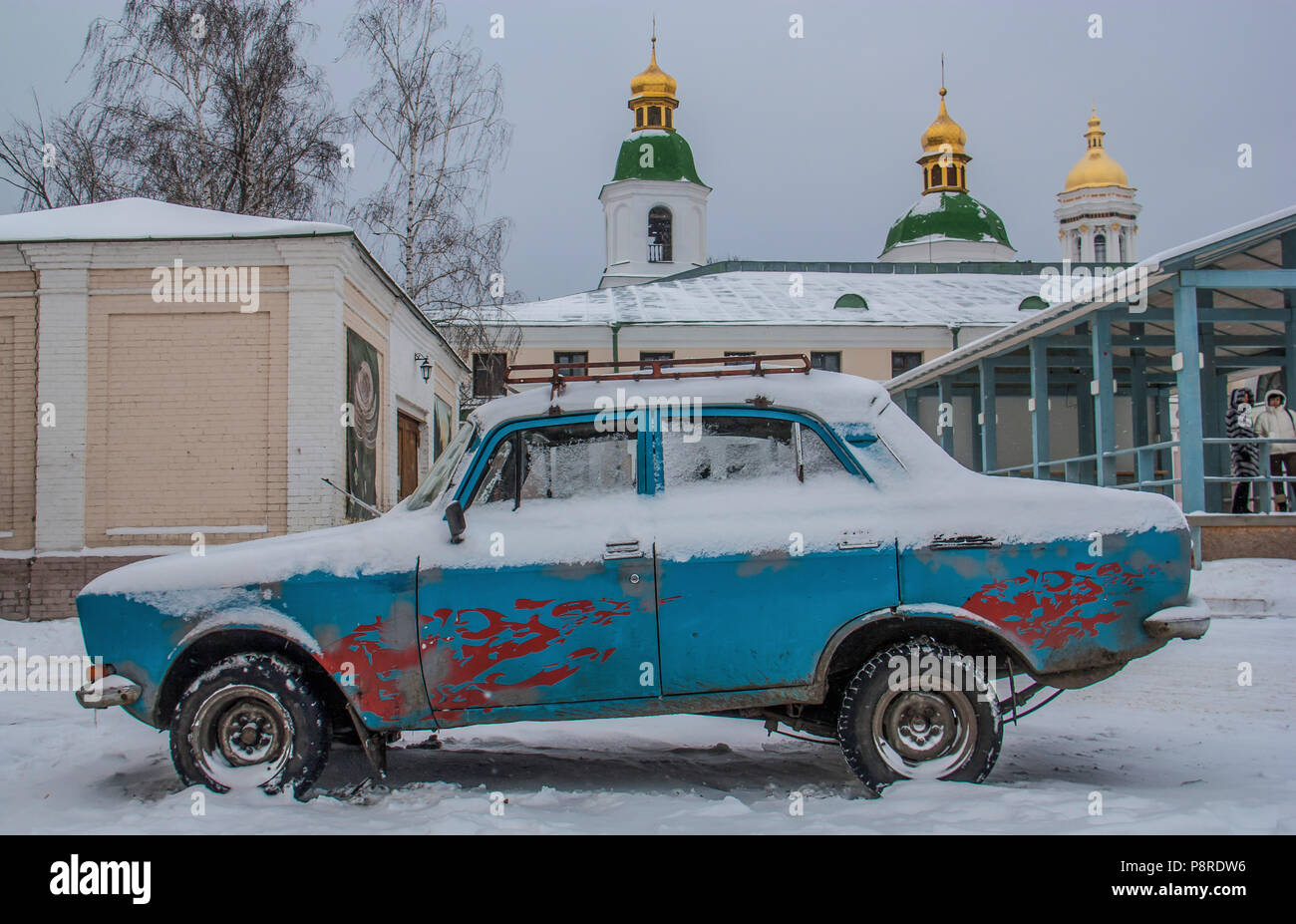 Kiev, Ukraine - in Kiev is still easy to spot some very old or weird cars. Here in particular a good example of soviet times car - Stock Image
