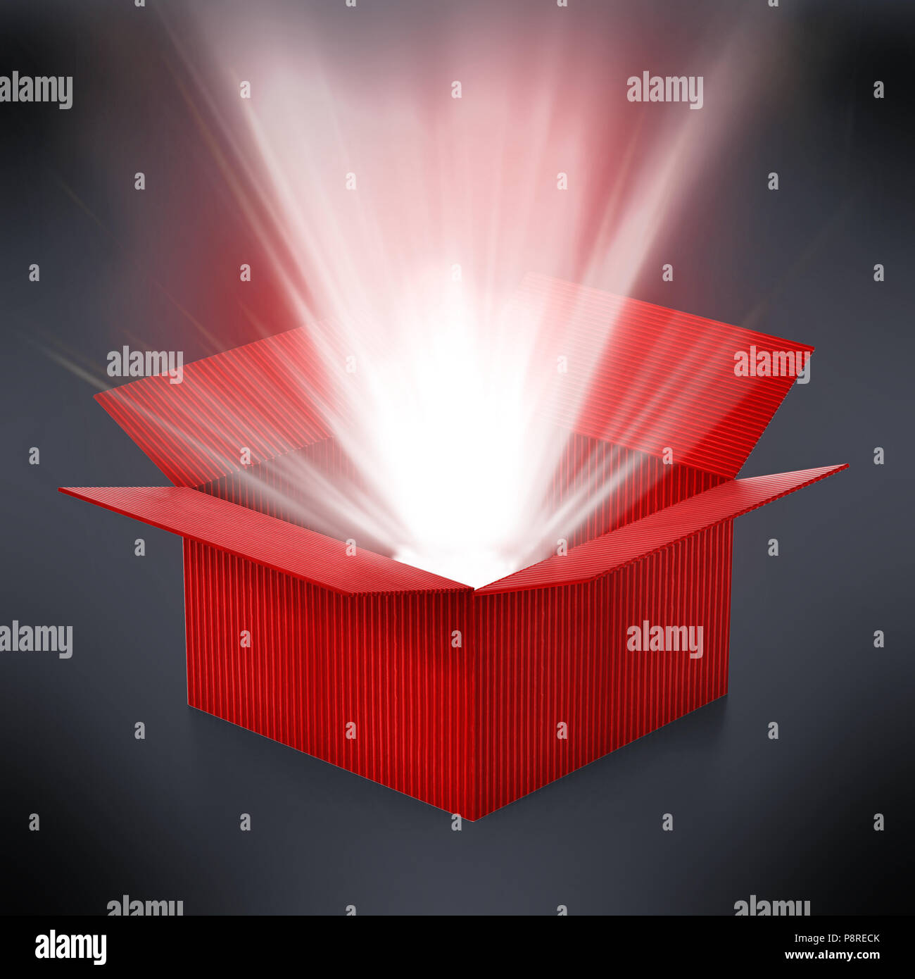 Red cardboard box with glowing light ray standing out. 3D illustration. - Stock Image