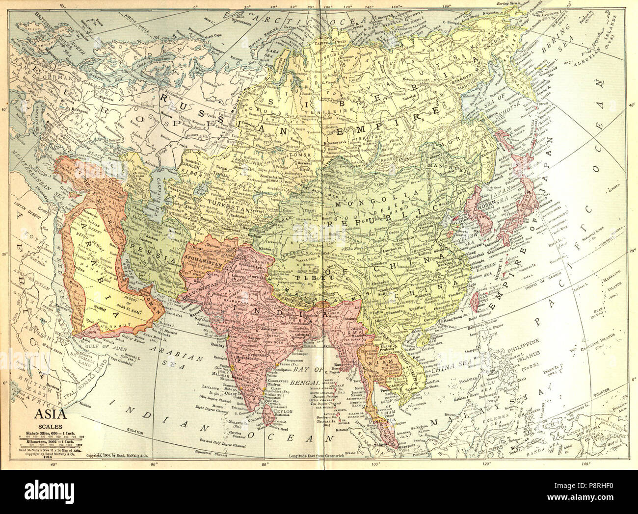 Map Of Asia For Students.The New Student S Reference Work 16 1914 Map Of Asia Stock Photo