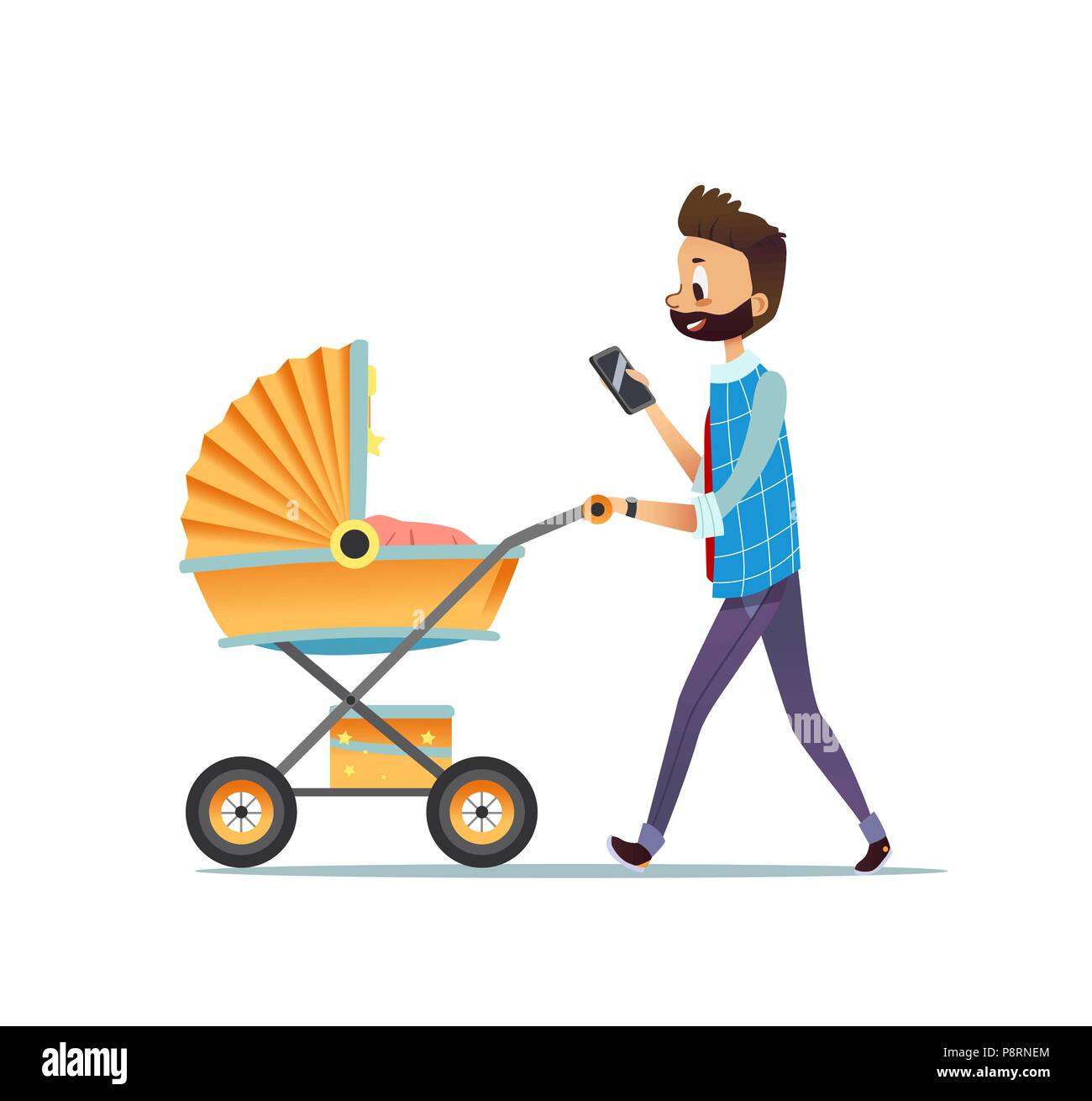 father walking with child lying in pram and texting message on
