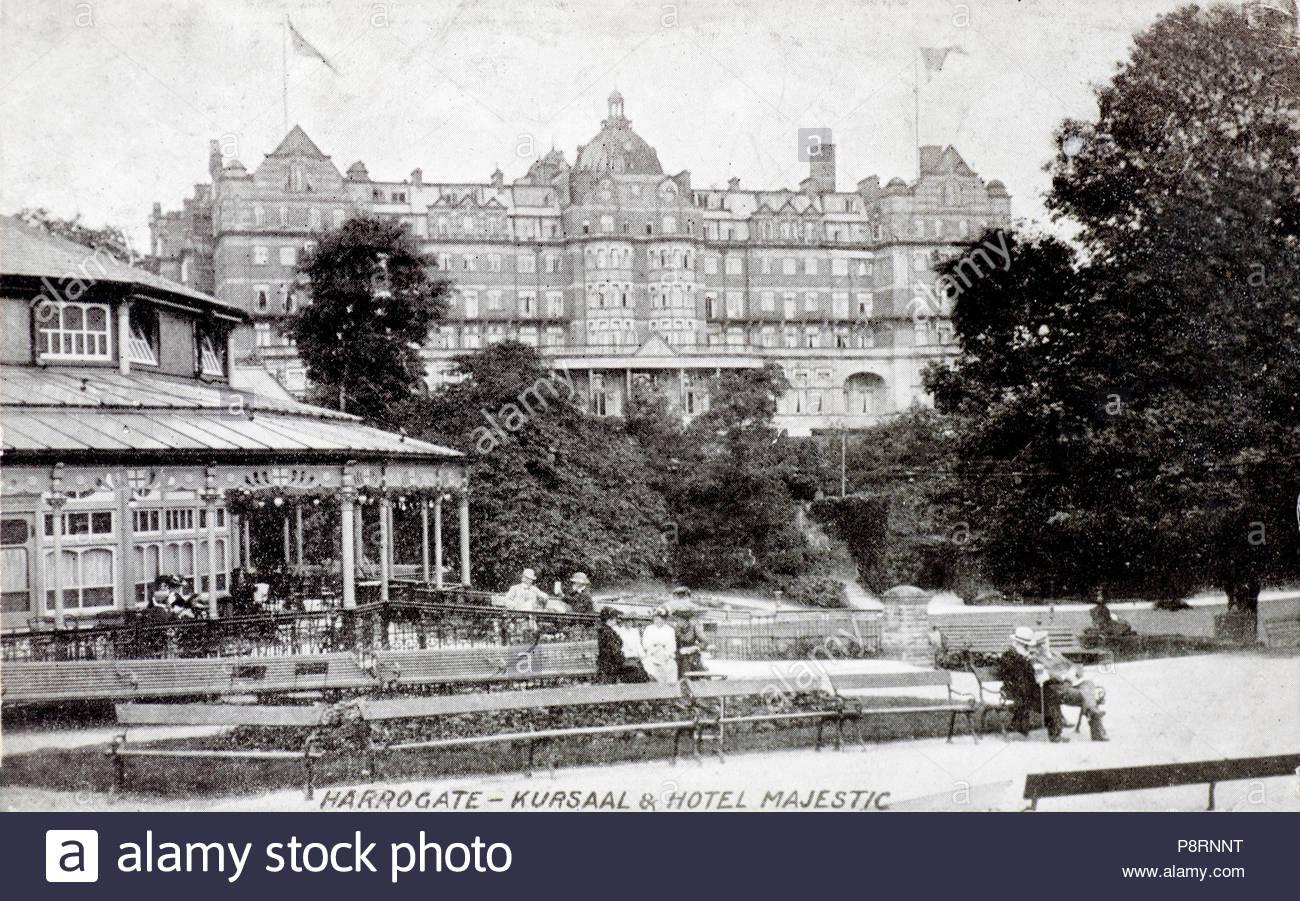 Harrogate, Kursaal & Hotel Majestic, vintage postcard from 1907 - Stock Image