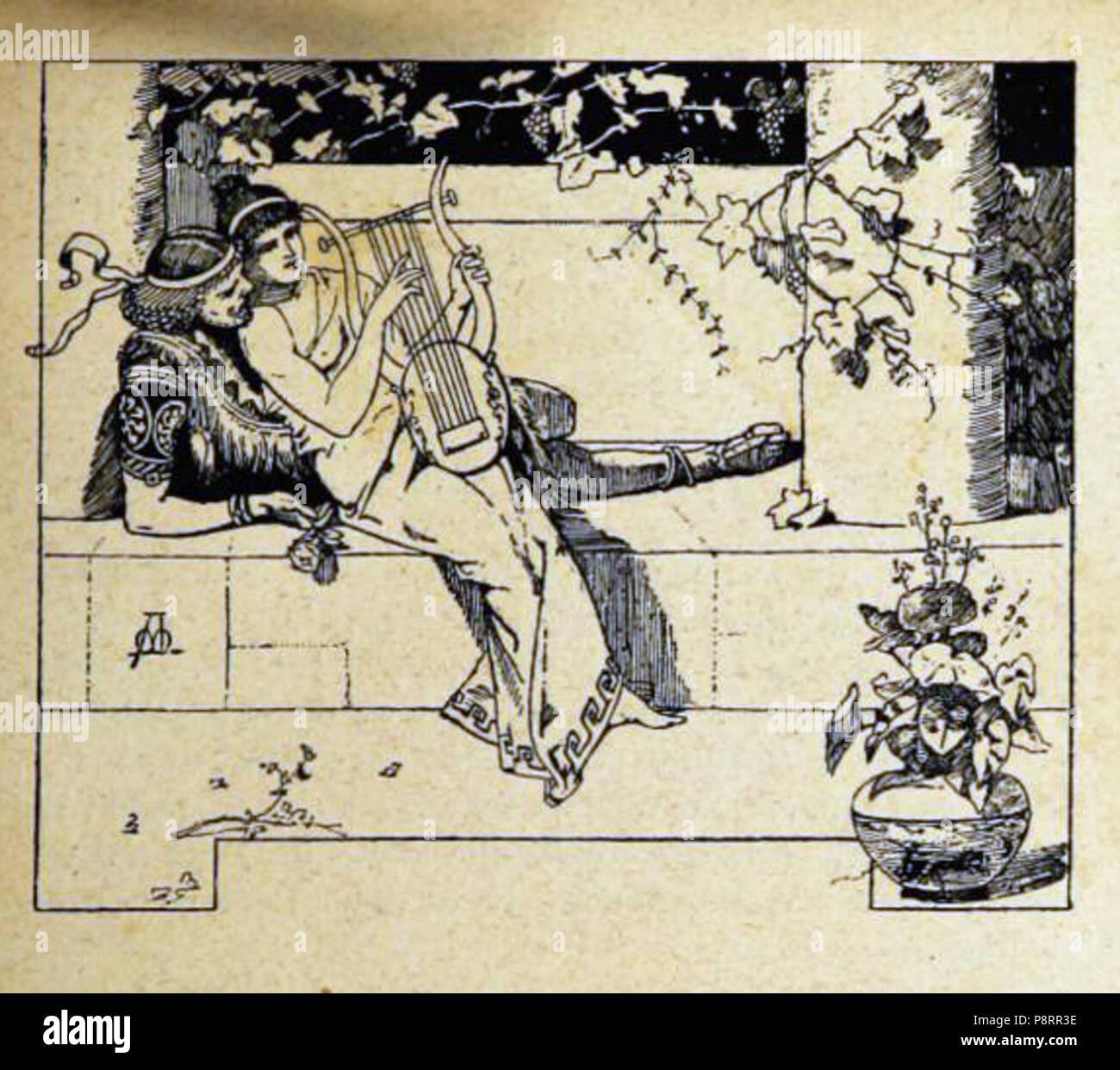 339 Ilustración de La hija del Rey de Egipto, de Apeles Mestres, capítulo XI (1881) - Stock Image
