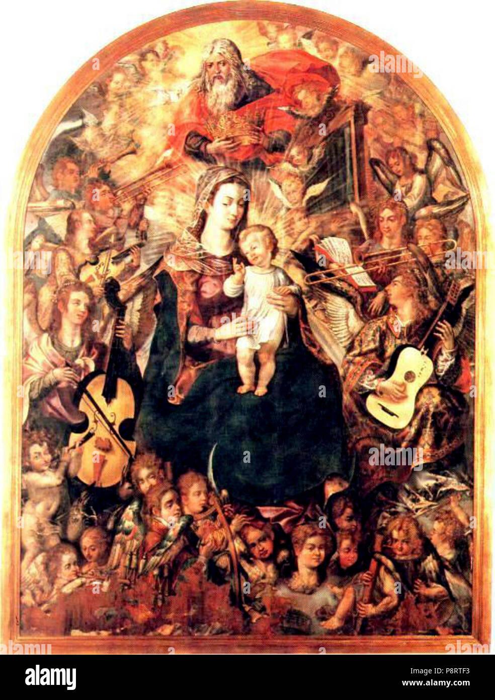 A Coroacao da Virgem de Vasco P Lusitano. - Stock Image