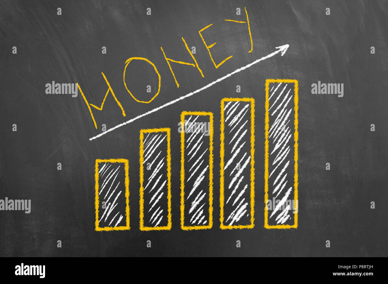 money growing up bar and arrow chalk chart drawing on chalkboard or
