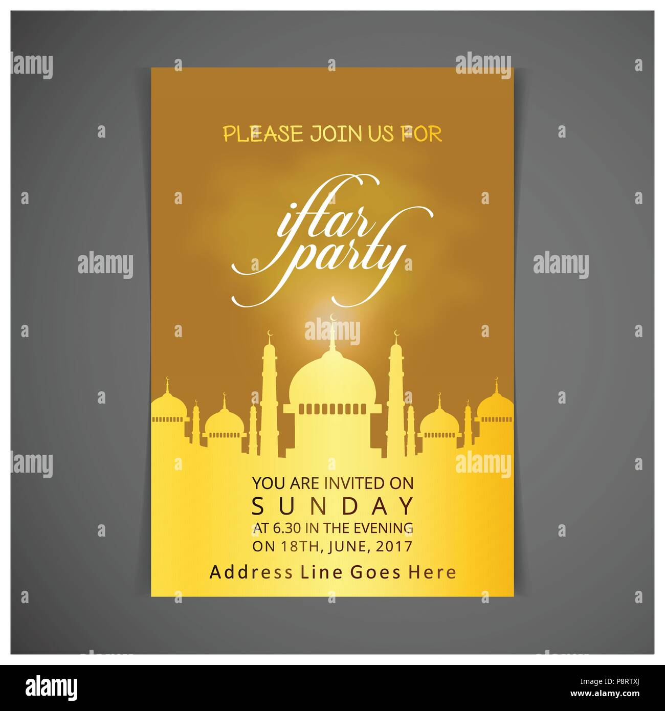 Elegant Iftar Party Invitation Card Design Decorated On Dark Yellow