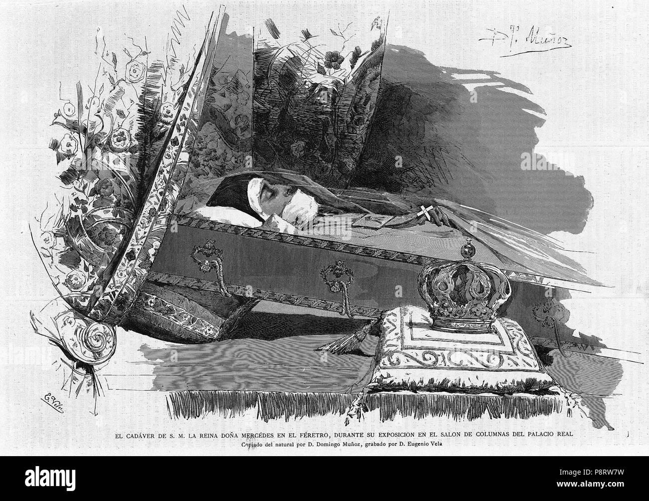 10 1878-07-15, La Academia, Féretro de la reina Mercedes, Muñoz, Vela - Stock Image