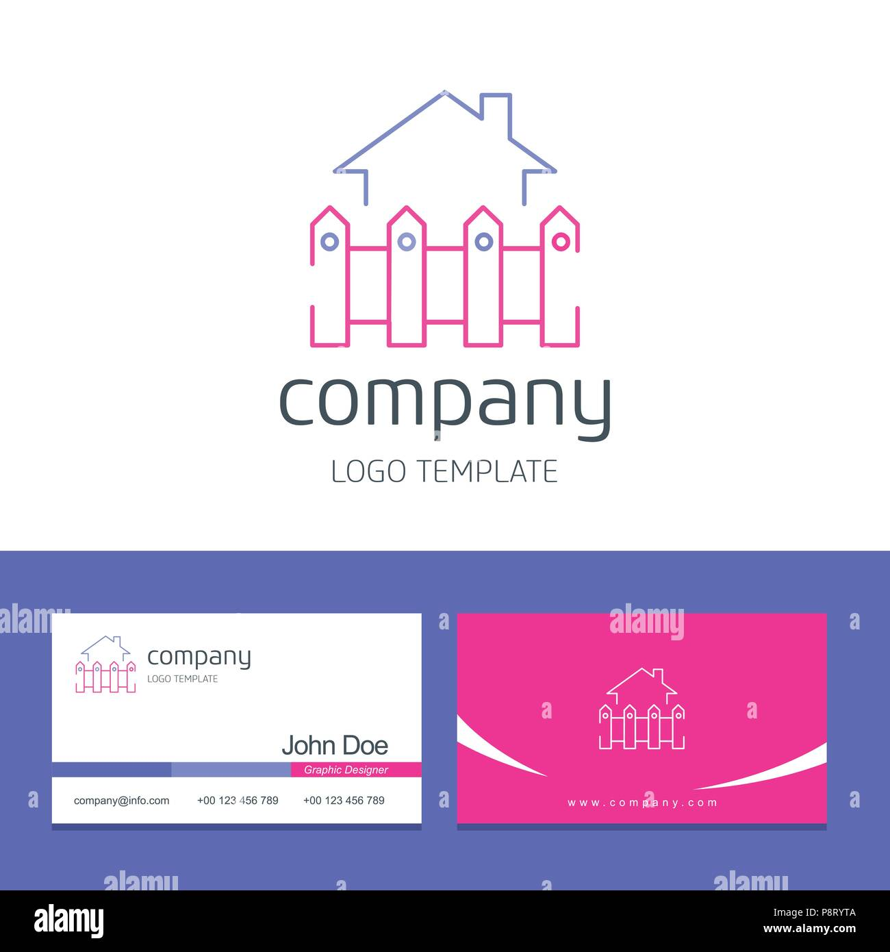 Business card design with house company logo vector. For web design and application interface, also useful for infographics. Vector illustration. - Stock Vector