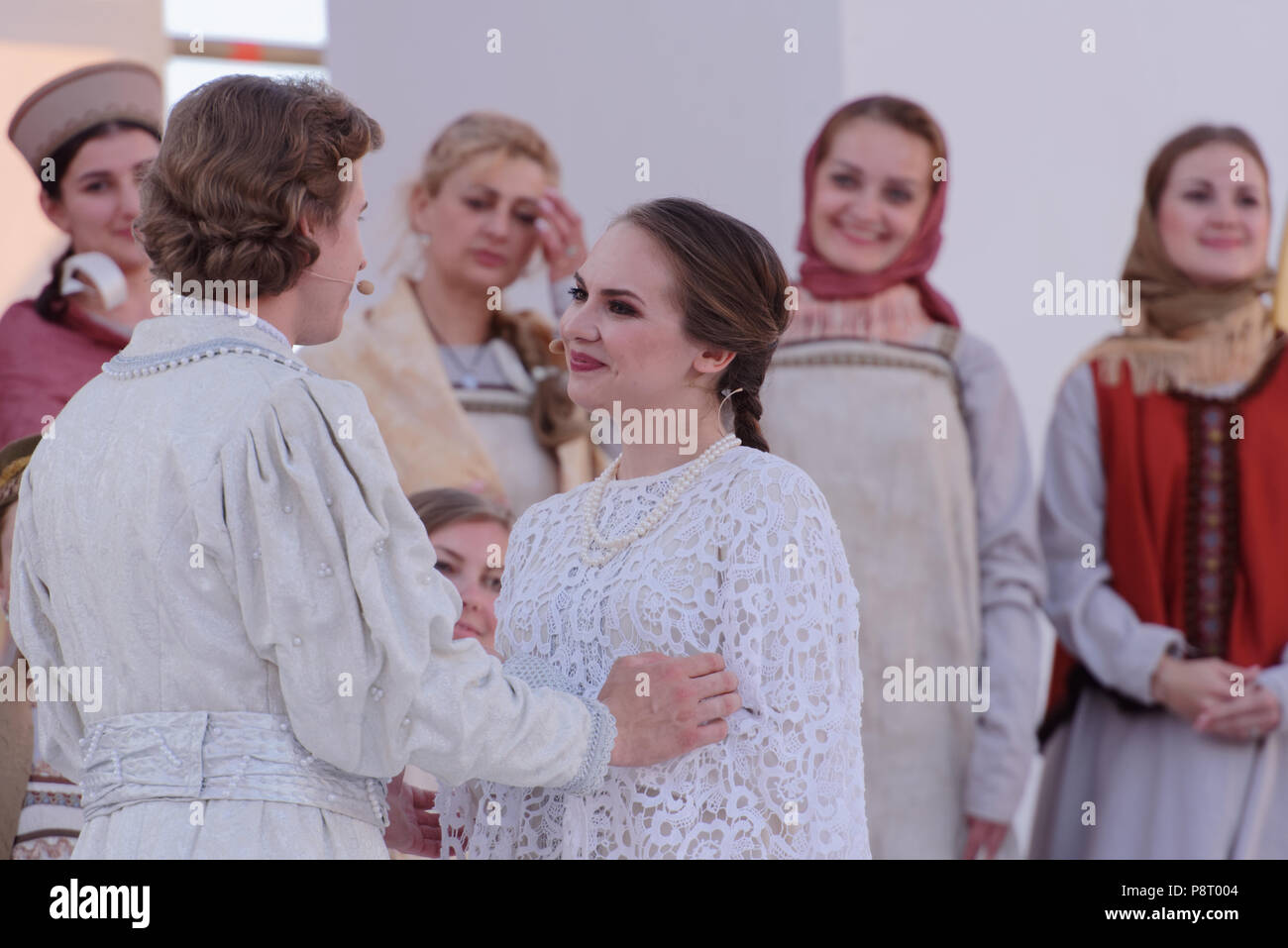 St. Petersburg, Russia - July 12, 2018: Olga Cheremnykh as Marfa (right) and Ilya Selivanov as Lykov in the opera The Tsar's Bride of N. Rimsky-Korsak - Stock Image