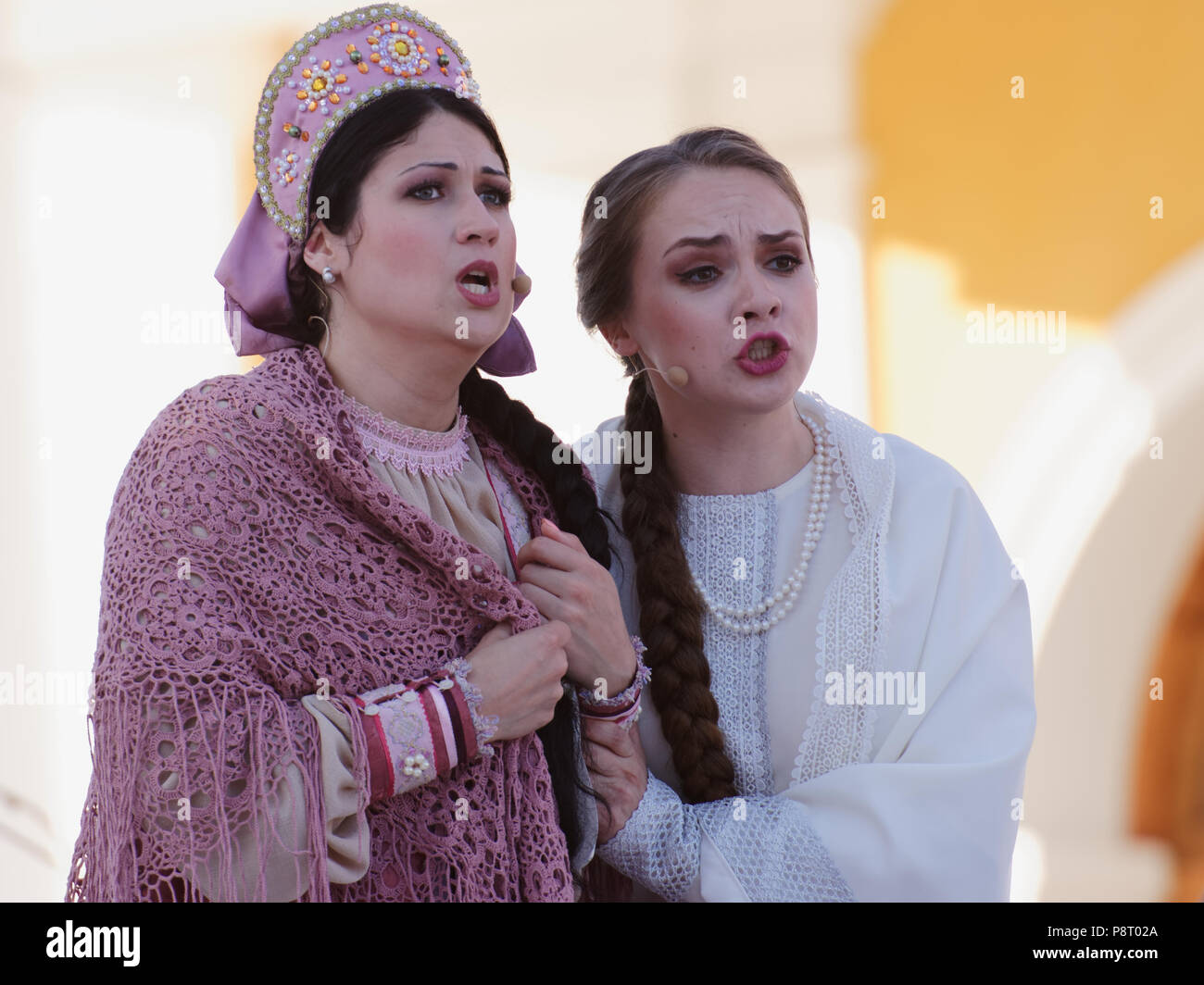 St. Petersburg, Russia - July 12, 2018: Olga Cheremnykh as Marfa (right) and Anastasia Samarina as Dunyasha in the opera The Tsar's Bride of N. Rimsky - Stock Image