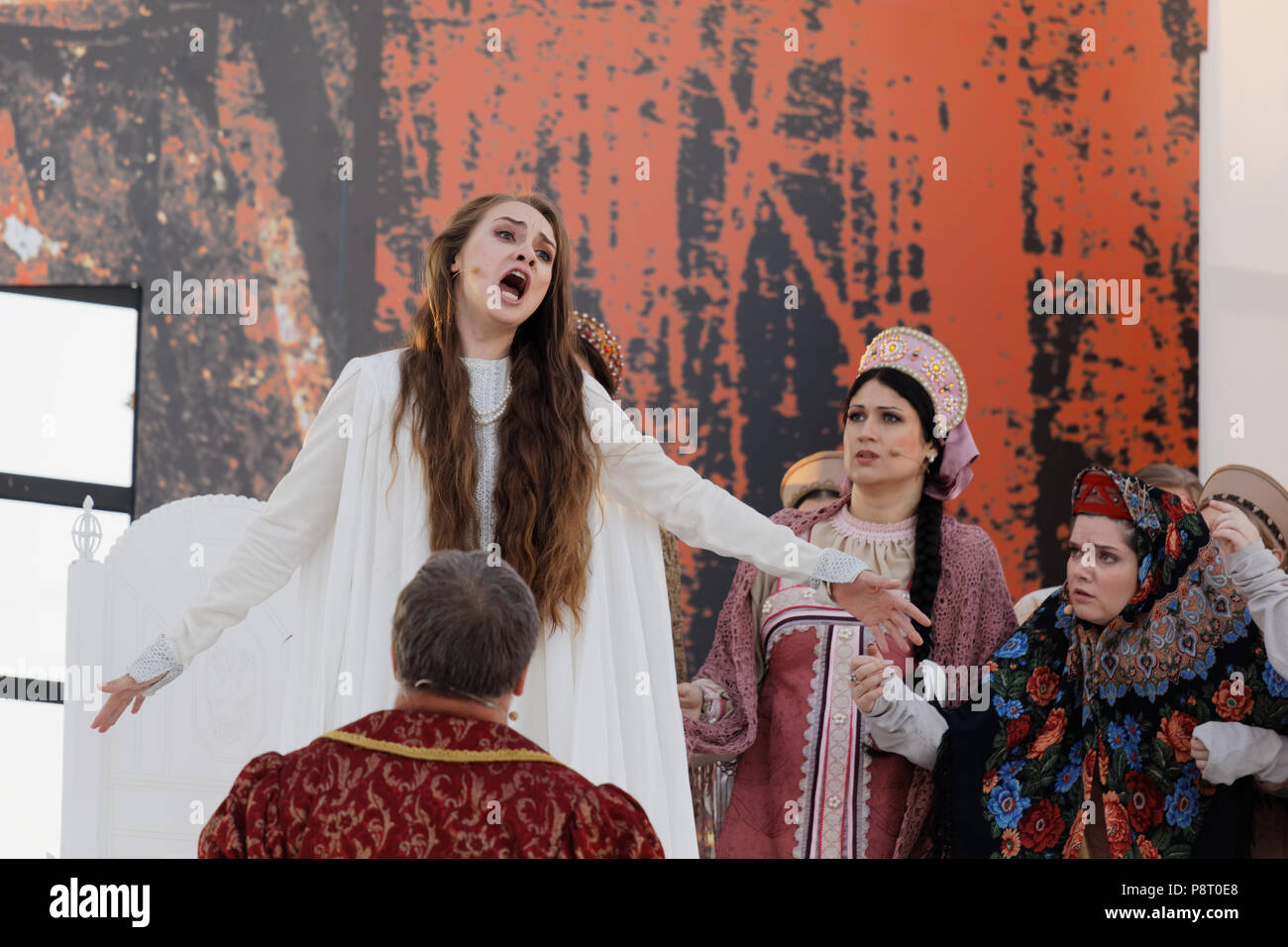 St. Petersburg, Russia - July 12, 2018: Olga Cheremnykh as Marfa (left) and Anastasia Samarina as Dunyasha in the opera The Tsar's Bride of N. Rimsky- - Stock Image