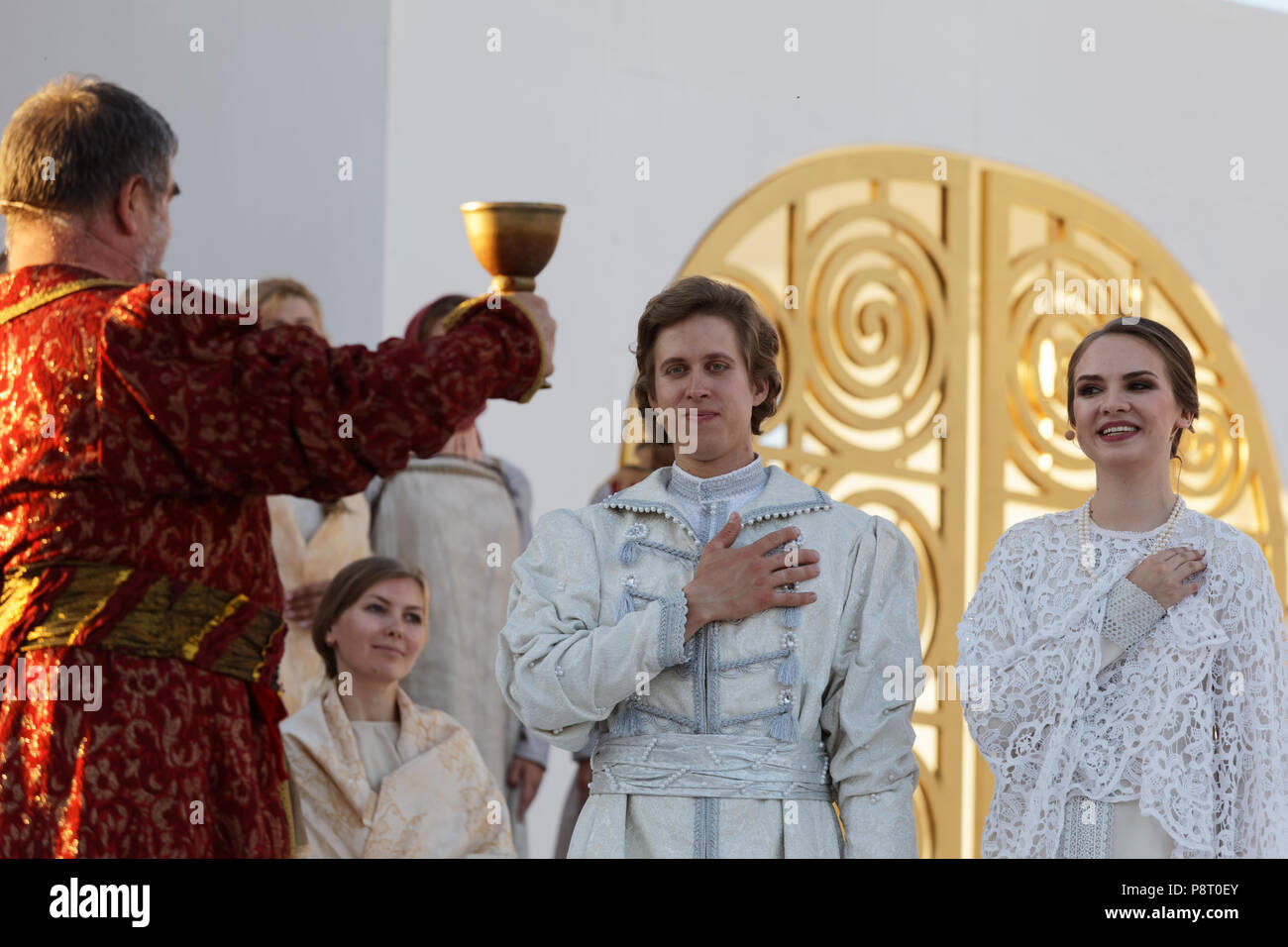 St. Petersburg, Russia - July 12, 2018: Olga Cheremnykh as Marfa (right) and Ilya Selivanov as Lykov (center) in the opera The Tsar's Bride of N. Rims - Stock Image