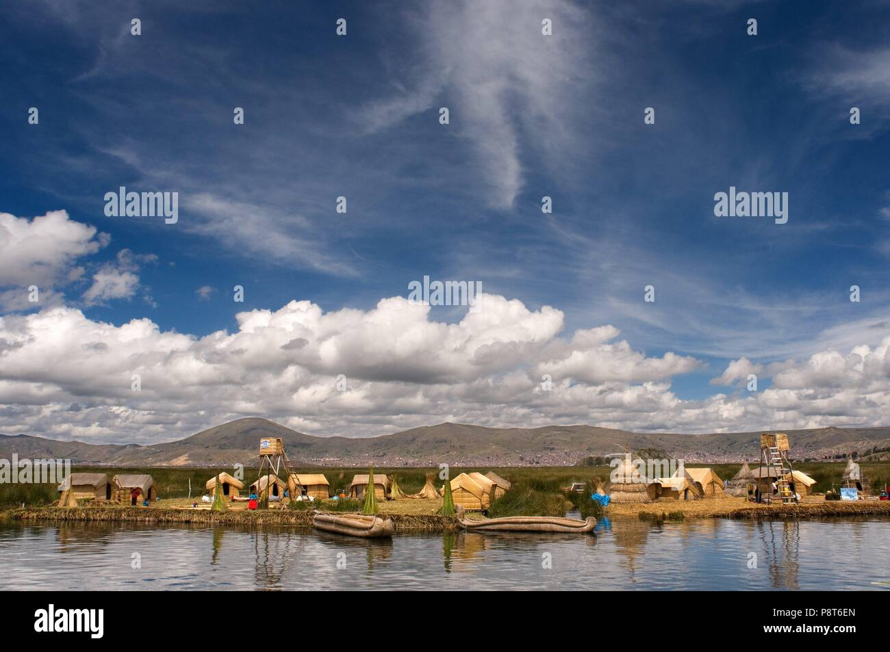 Uros Island, Lake Titicaca, peru, South America.  These islands are built on a dense totora vegetation, which with the passage of time interweave their roots forming a natural layer called Killi. January 2018 | usage worldwide Stock Photo