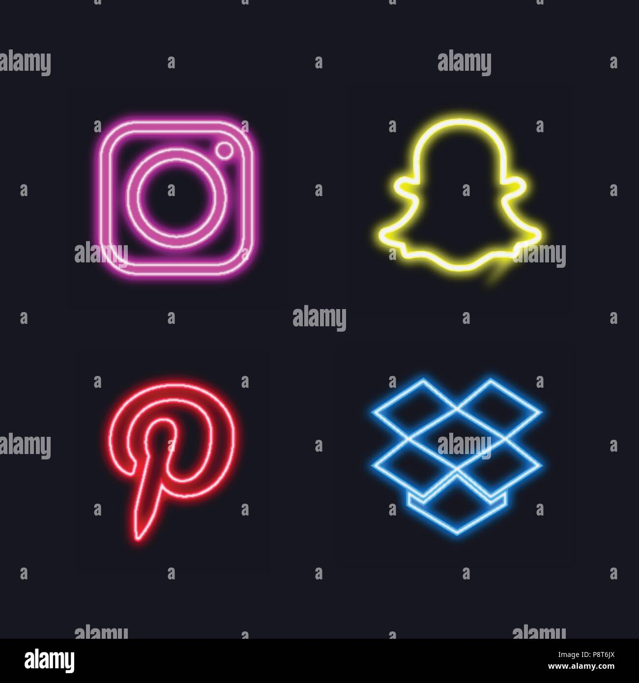 Glowing Neon Social Button For Web Design And Application Interface Also Useful For Infographics Vector Illustration Stock Vector Image Art Alamy