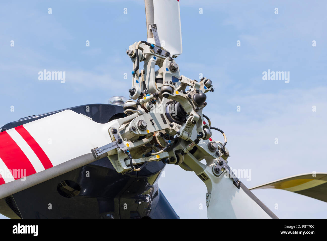 Closeup of a Helicopter Tail Rotor from an Agusta Westland AW169 helicopter. - Stock Image