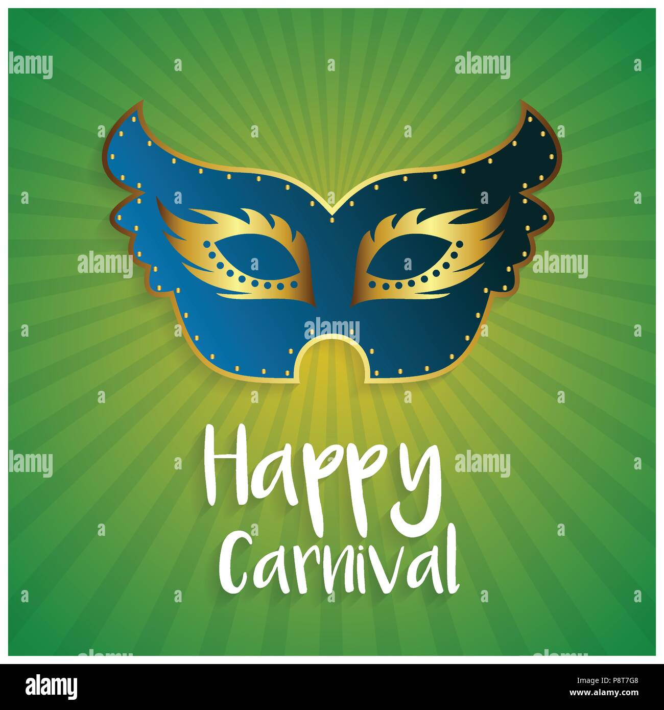 happy brazilian carnival day blue color carnival mask with golden