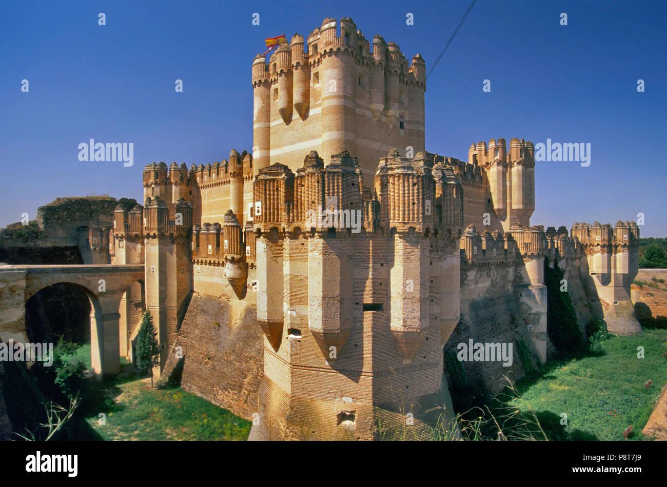 Coca Castle, Mudejar style, Coca, Castile-Leon, Spain - Stock Image