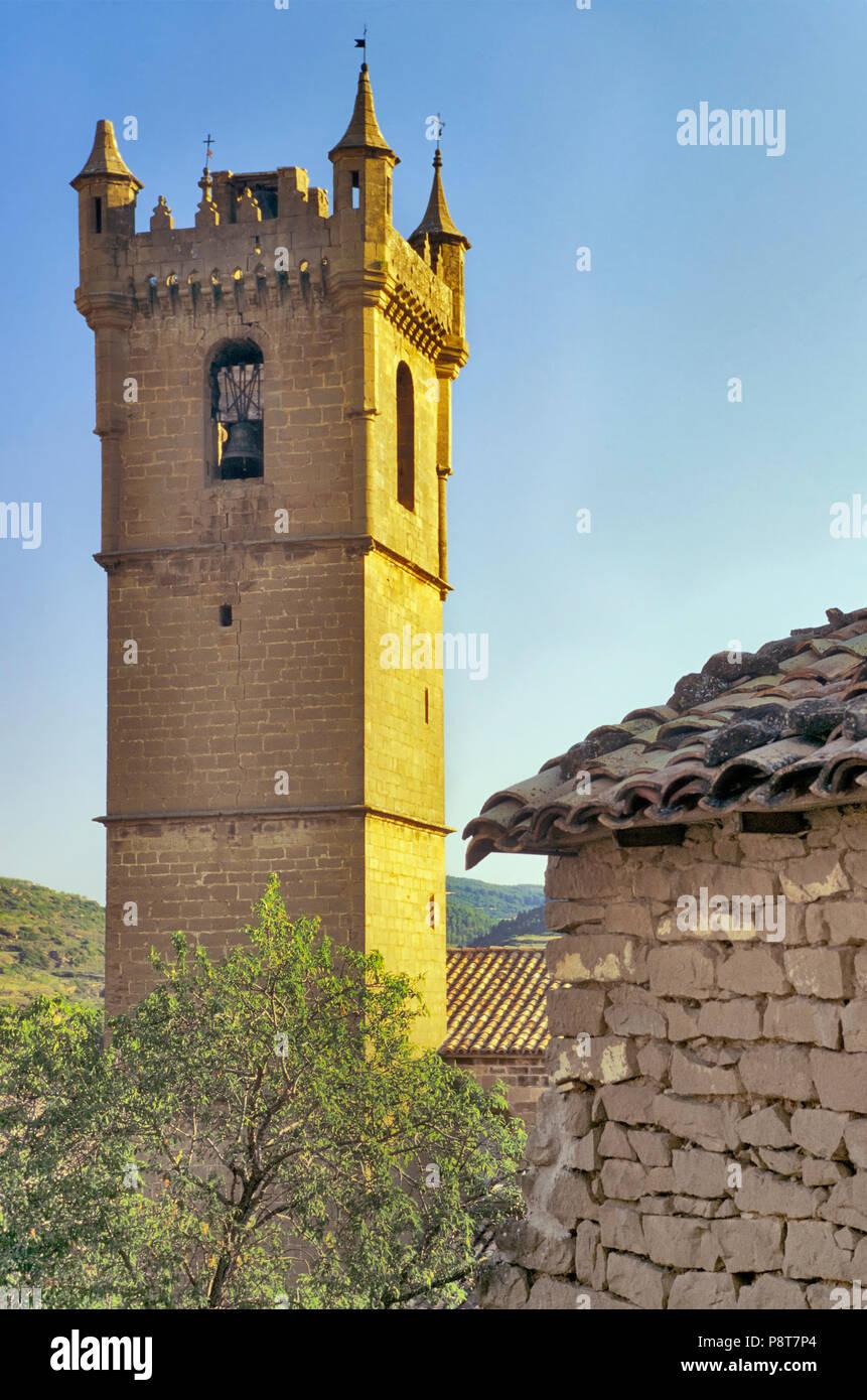 San Martin Church tower in Uncastillo, Aragon, Spain - Stock Image