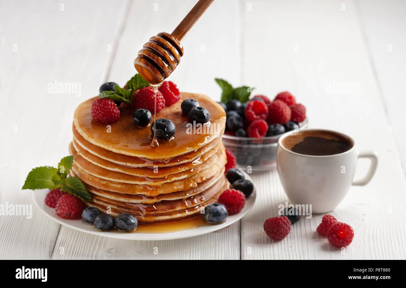 American blueberry pancakes - Stock Image