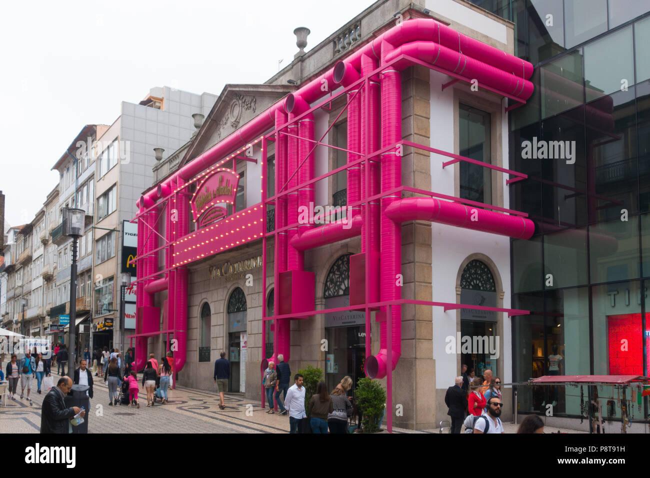 Via Catarina Shopping Arcade in Oporto, Portugal - Stock Image