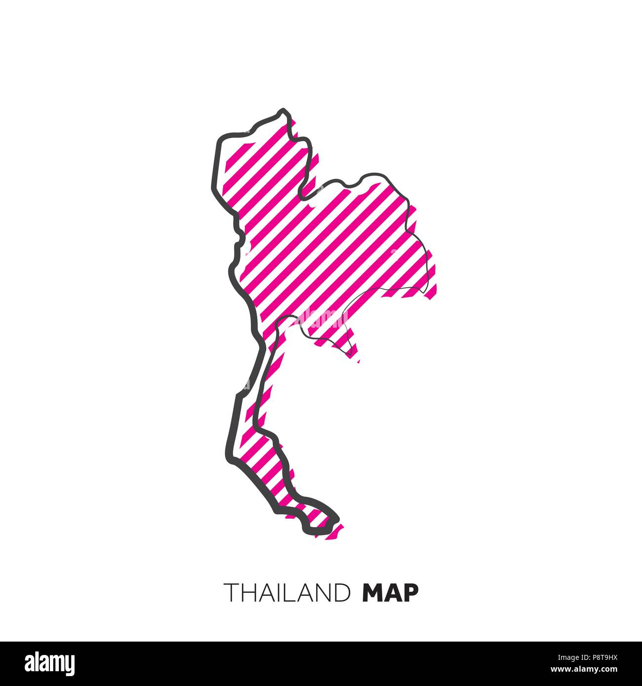 Thailand vector country map. Map outline with dots Stock ...