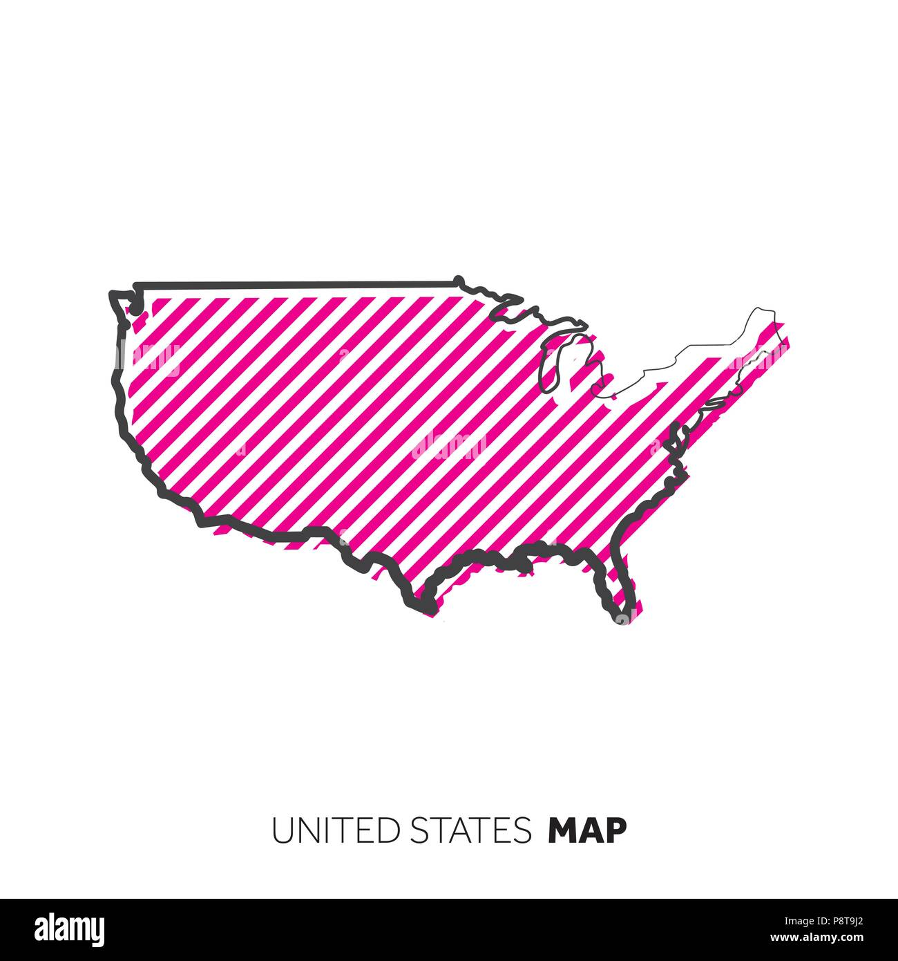 United States of America vector country map. Map outline ...
