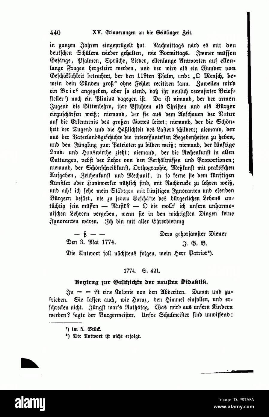 47 Aus Schubarts Leben und Wirken (Nägele 1888) 440 - Stock Image