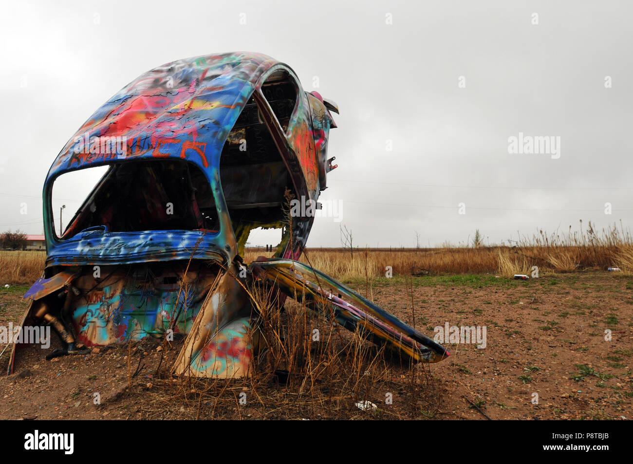 One Of Five Volkswagen Beetles That Make Up Vw Slug Bug Ranch In The