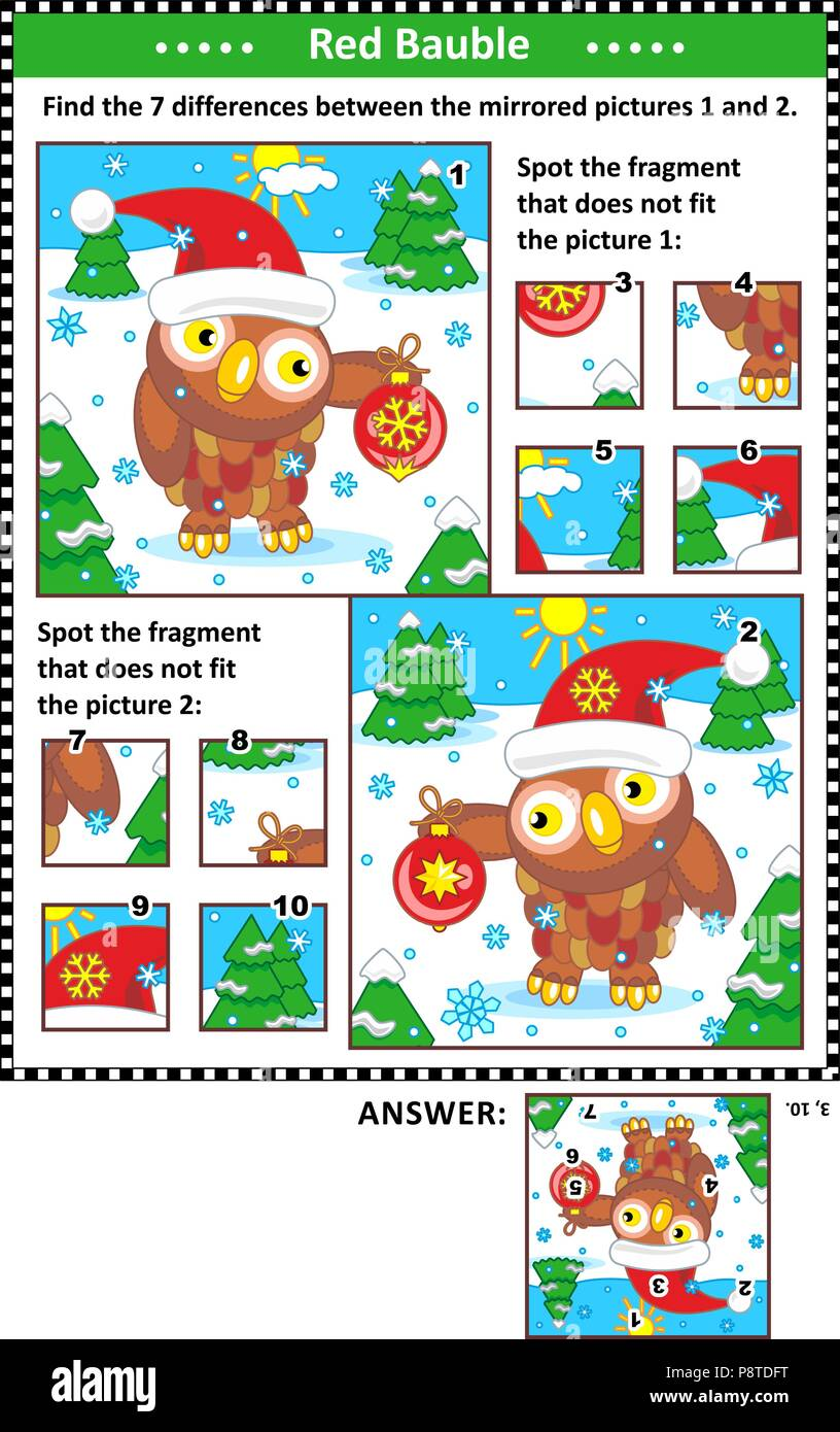 new year or christmas visual puzzles with owl and red bauble find the differences between the mirrored pictures spot the wrong fragments