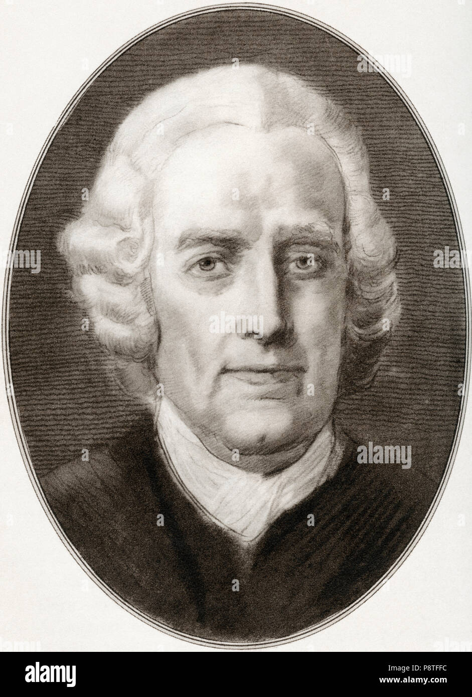 Emanuel Swedenborg, born Emanuel Swedberg, 1688 - 1772.  Swedish Lutheran theologian, scientist, philosopher, revelator and mystic who inspired Swedenborgianism. Illustration by Gordon Ross, American artist and illustrator (1873-1946), from Living Biographies of Religious Leaders. - Stock Image