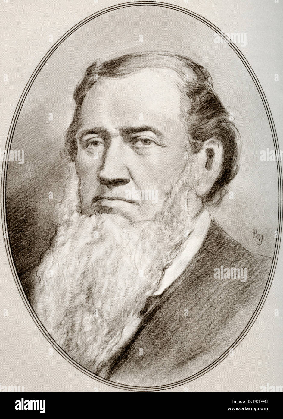 Brigham Young, 1801 – 1877.  American religious leader, politician, settler and the second president of The Church of Jesus Christ of Latter-day Saints. He founded Salt Lake City and served as the first governor of the Utah Territory.  Illustration by Gordon Ross, American artist and illustrator (1873-1946), from Living Biographies of Religious Leaders. - Stock Image