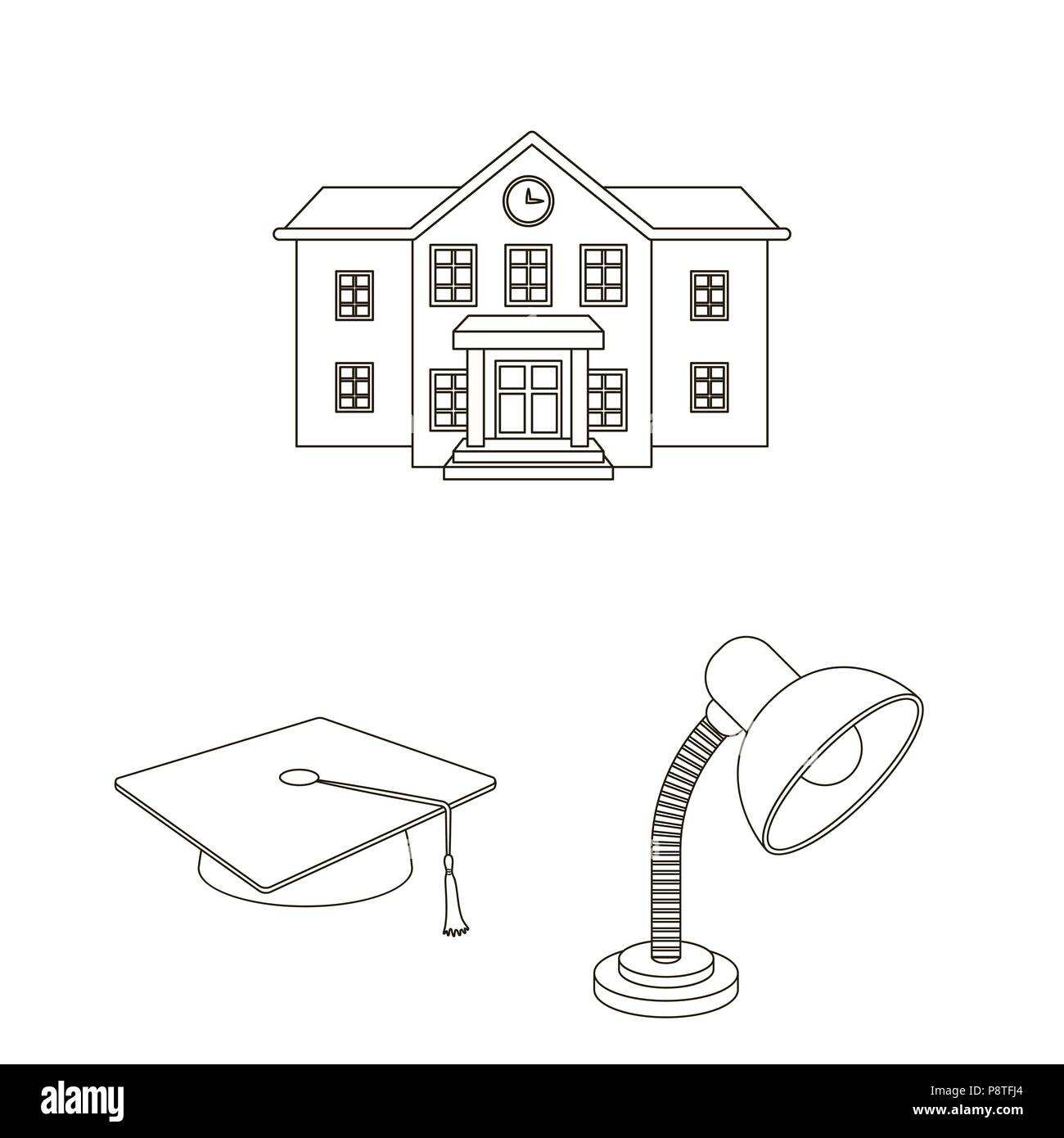School and education outline icons in set collection for design