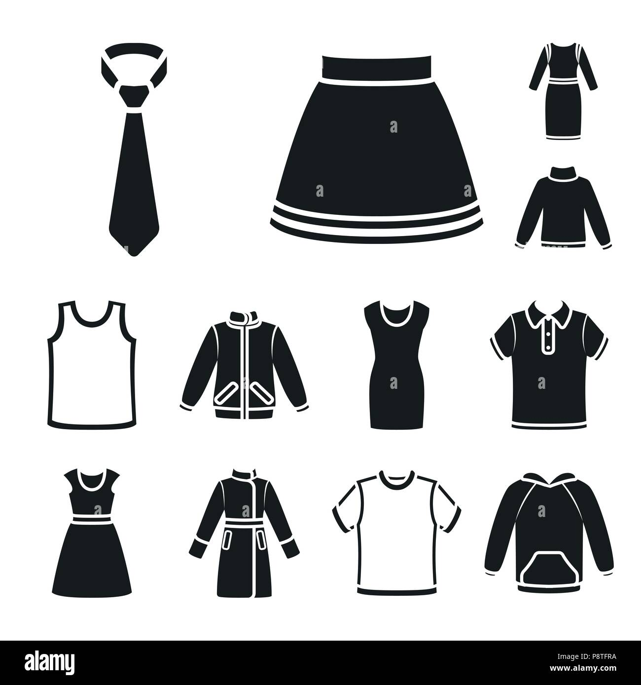Different kinds of clothes black icons in set collection for design. Clothes and style vector symbol stock  illustration. - Stock Vector