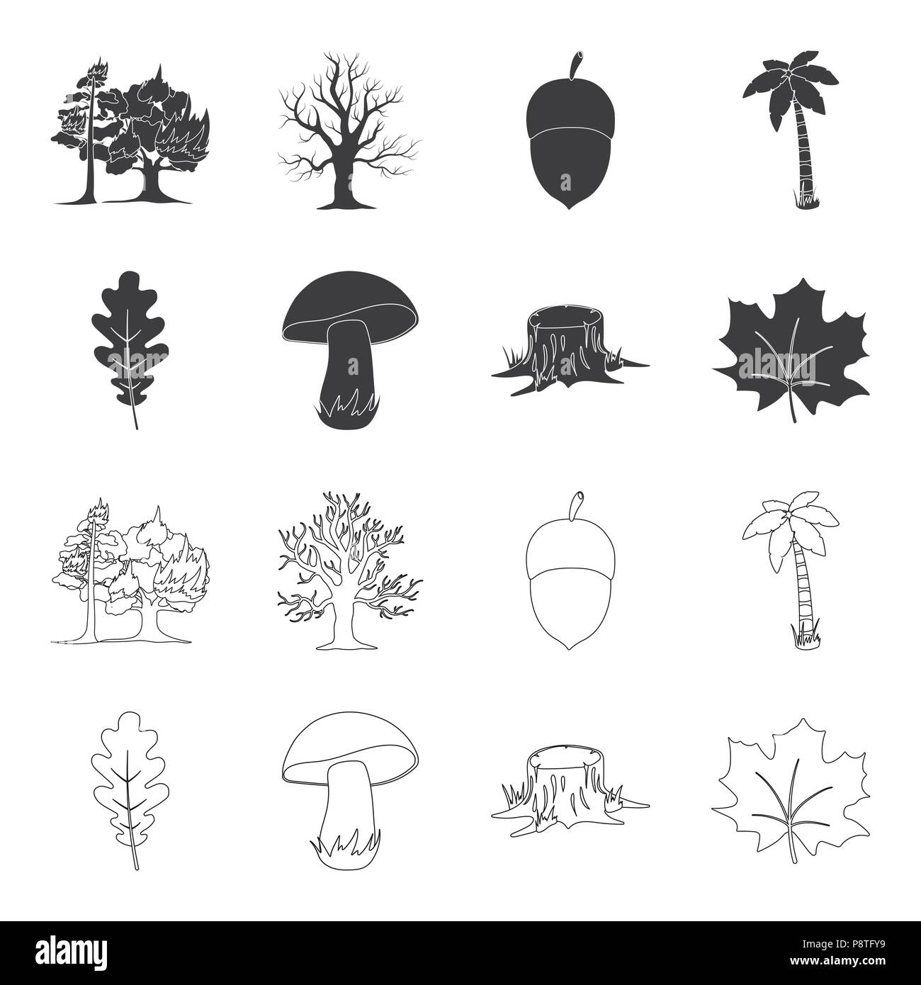 Oak Leaf Mushroom Stump Maple Leafrest Set Collection Icons In