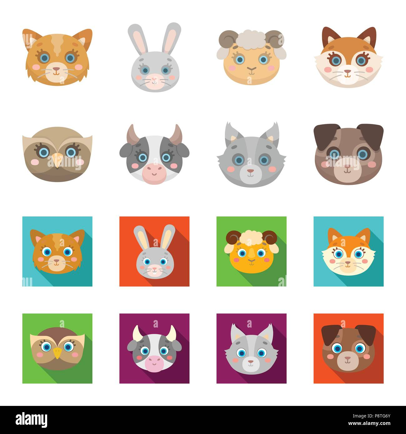 Owl Cow Wolf Dog Animal Muzzle Set Collection Icons In Cartoon