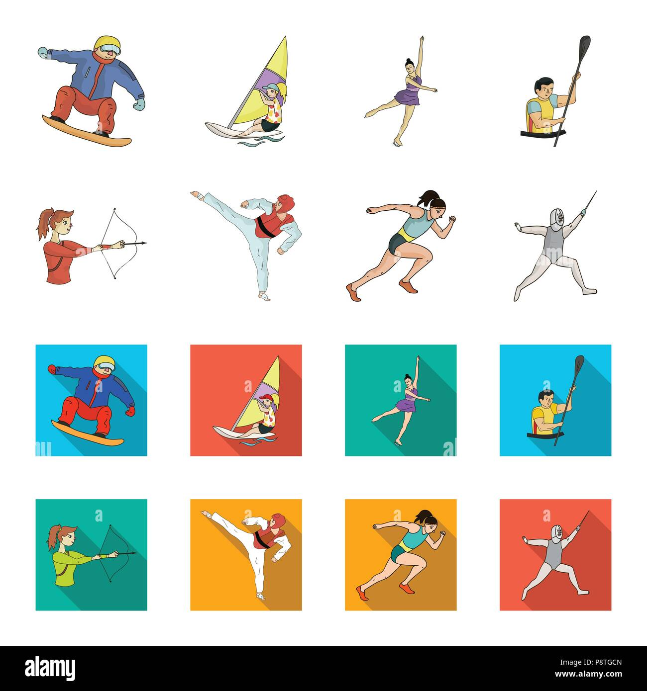 Archery, karate, running, fencing. Olympic sport set collection icons in cartoon,flat style vector symbol stock illustration . - Stock Vector