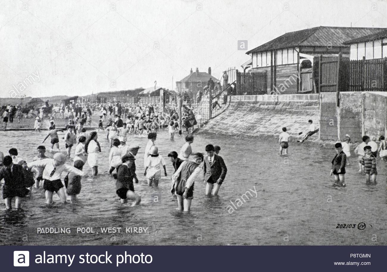 Paddling Pool, West Kirby Merseyside, vintage postcard from 1930 - Stock Image